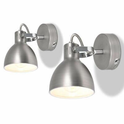 vidaXL 2x Lámparas de Pared de Metal Casquilo E14 Gris Apliques de...