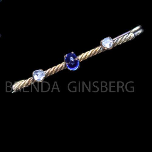 Antique Bar Brooch 14k Gold Rosecut Diamonds Sugarloaf Sapphire Unisex Man (6927