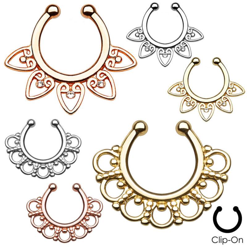 6pcs Tribal Fan Non-Piercing Septum Hangers Nose Rings Wholesale Lot