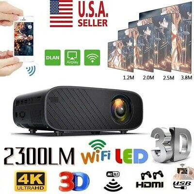 1080P WiFi 3D LED Mini Video Projector Home Cinema 23000 Lumens 4K Portable