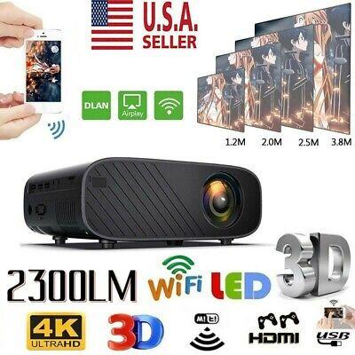 1080P WiFi 3D LED Mini Video Projector Home Cinema 23000 Lumens 4K Portable