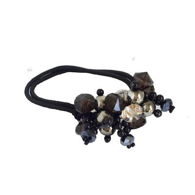 Crystals Pearls Hair Ponytail Holder Band - Black for sale  Shipping to India