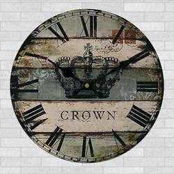 Rustic Wooden Large 30cm Clock Vintage Retro Style Kitchen Wall Decor Crown