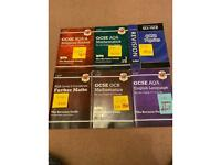GCSE books: maths, further maths, English Lang, physics, maths, RS