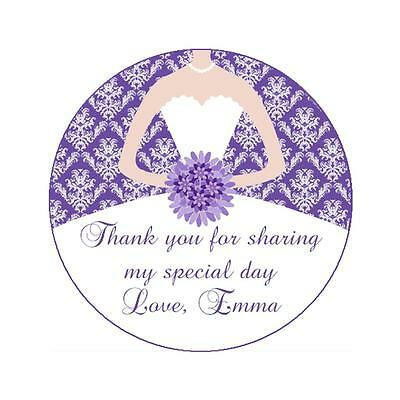 Damask Party Favors (40 Stickers Gift Favor Labels Purple Bridal Shower or Sweet 16 Damask Party)