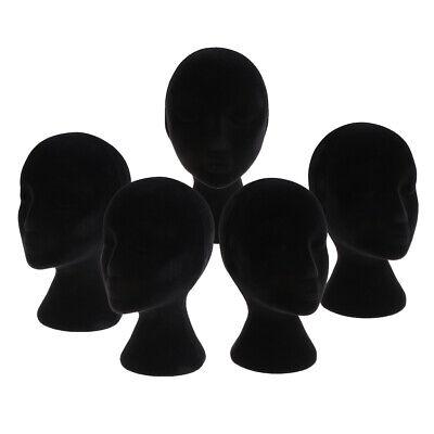 5pcs Black Styrofoam Mannequin Manikin Head Models Wigs Glasses Display Stands