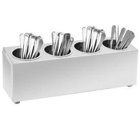 Cutlery Holder 4 Grids Rectangular Stainless Steel-51227