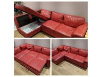Only 6 years old, red leather, corner sofa bed, with built in storage