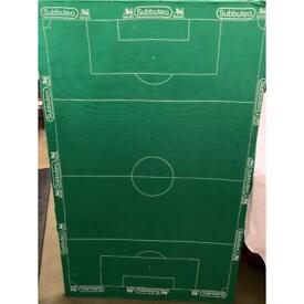 Subuteo pitch fixed to wooden board