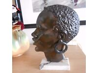 FRENCH ART DECO AFRICAN LADY BRONZE SCULPTURE