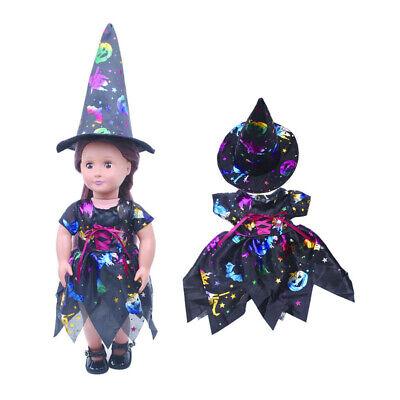 2er-Set Puppen Halloween Kleidung Kostüm mit Hexen Hut für 18 Zoll Puppen