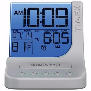 Timex T125 Colour Changing Alarm Clock with USB Port - Silver