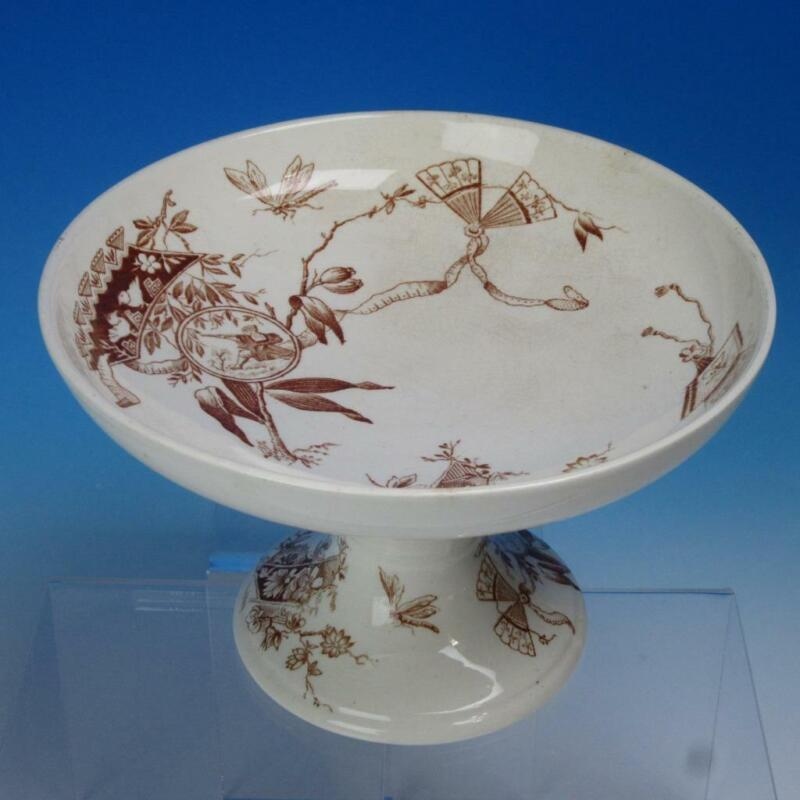 Brown Transferware Aesthetic Movement - Shaw Java - Footed Fruit Bowl Compote