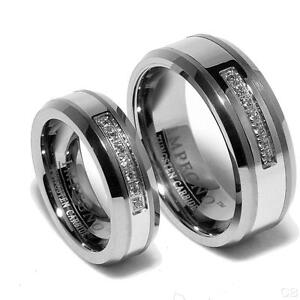 matching wedding bands for him and her tungsten with small