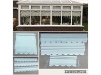 10 X Louvolite cream roller blinds with classic shaped bottom, various sizes
