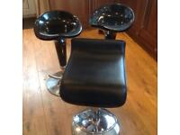 Black and chrome stools