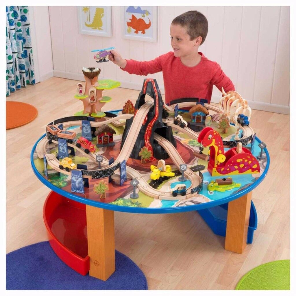 Kid Kraft Dinosaur Wooden train set and table with storage
