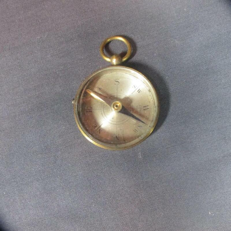 """Antique Small Brass Pocket Compass, Made in France, 1 1/2"""" Diameter"""