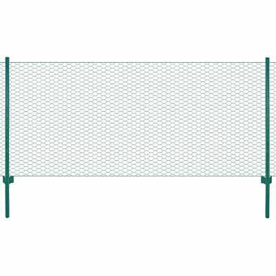 vidaXL Wire Mesh Fence with Posts Steel 25x1m Green Outdoor Field Enclosure