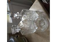 Two crystal decanters and rose bowl