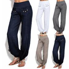 Women Buttons Cotton Linen Work Pants Casual Loose Trouser Wide Leg Pants Daily