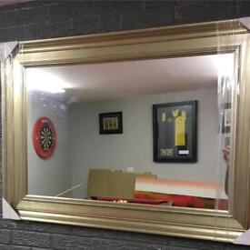 chunky champagne silver large framed mirror
