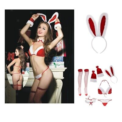 Frauen Bunny Santa Dessous Red Christmas Babydoll Set Outfit Nachtwäsche