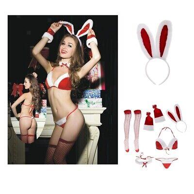 Frauen Bunny Santa Dessous Red Christmas Babydoll Set - Santa Outfits Frauen