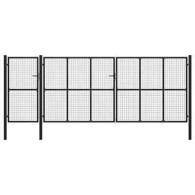 vidaXL Garden Gate Steel Anthracite 500x175cm Outdoor Yard Fence Mesh Door