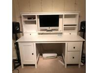 IKEA HEMNES desk with add on unit, COMPLETE office desk furniture white s