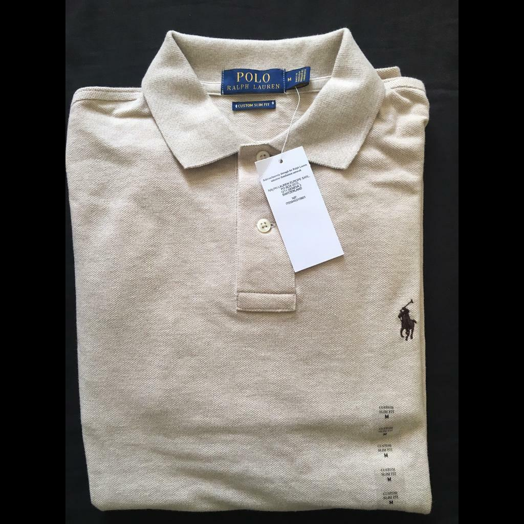 6c29fcb21 Ralph Lauren Men's Polo Tan Shirt small brown Pony Long Sleeve Medium RRP  £85