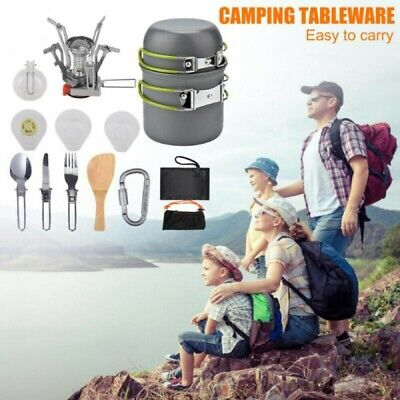 Camping Cookware Kit Cook Set Portable Stove Pots Tableware for Hiking Picnic