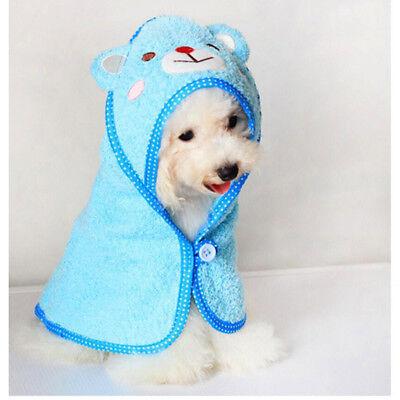Pet Dog Cat Bear Design Puppy Bath Towel Bathrobes Pajamas Blanket Blue M