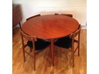 Vintage mid century round dining table and chairs. G plan style