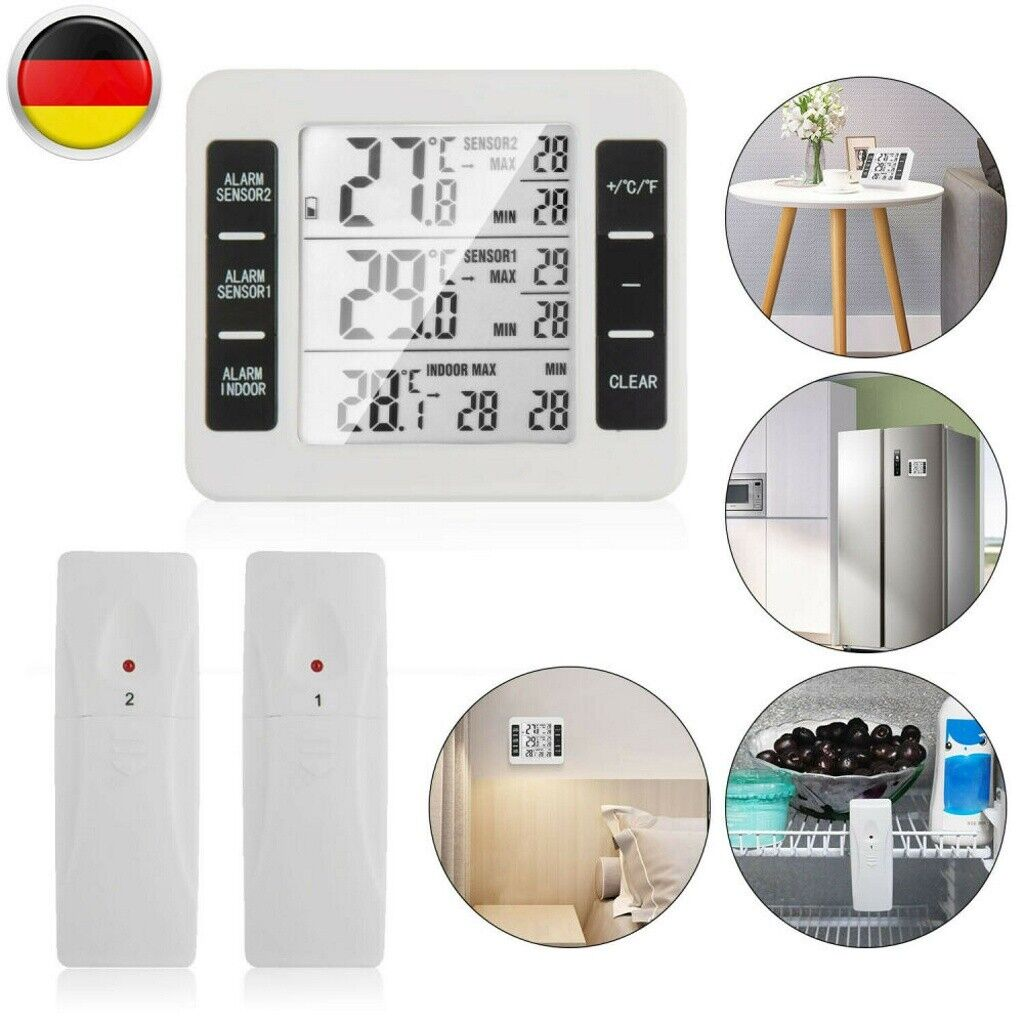 Funk Wetterstation Kabellos LCD Display Haus Thermometer Außensensor Temperatur