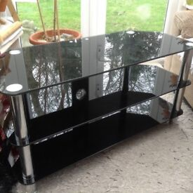 Black Glass 2 shelved TV Stand/Table
