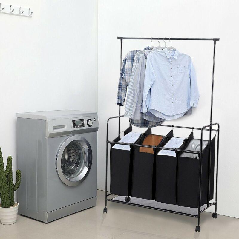 Laundry Cart 4 Bag Sorter Hamper Rolling Wheels Storage Clot
