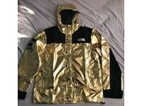 Supreme x north face jacket hoodie coat reflective gold bape off white