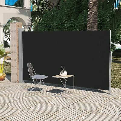 Patio Terrace Retractable Side Awning Garden Privacy Divider 180 x 300 cm Black