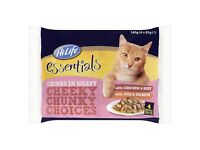 HiLife Chunky Choices in Gravy Cat Food Pouches 52 pk. Flavours: Chicken & Beef, Cod & Salmon