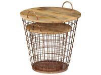 Coffee Table/Basket Set 2 Pieces Solid Mango Wood 55x50 cm-246016