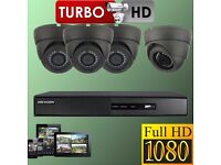 CCTV CAMERA SYSTEM HIKVISION DVR 4 CH HDMI 1080P DOME CAMERAS 2.4MP 1TB HDD