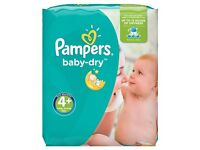 BNIB Pampers Baby-Dry Nappies Size 4+, 152 pk £16 (would cost £18 for 152 pk at Tesco)