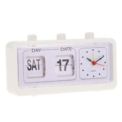 Retro Style Calendar Flip Alarm Clock - Day & Date Display - White