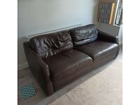 Barker and Stonehouse Black Leather Sofa
