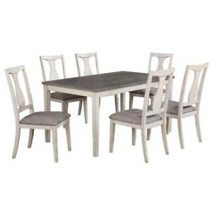 Karwell 7pc Dining Set in Antique White and Grey (WW99)