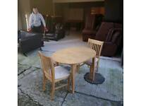 oak wood table extendable table and 2 chairs