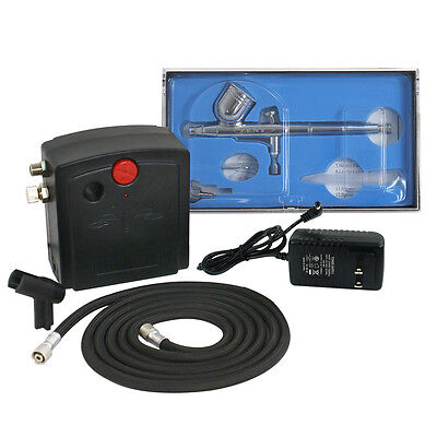 Precision Dual-Action AIRBRUSH AIR COMPRESSOR KIT SET Craft Cake Hobby Paint Airbrushing Supplies