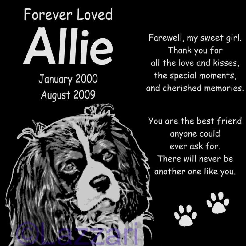 Personalized Cavalier King Charles Spaniel Dog Pet Memorial 12x12 Granite Marker