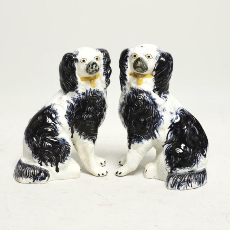 "ANTIQUE PAIR (2) STAFFORDSHIRE SPANIEL DOGS BLACK & WHITE, 7""H"